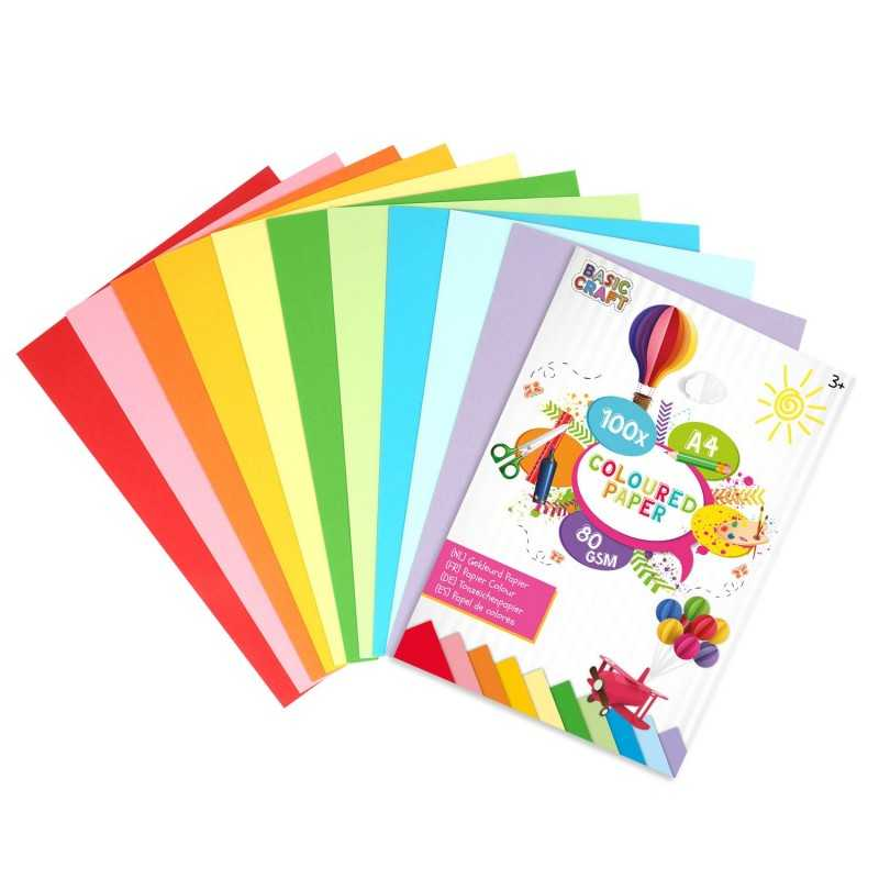100 Ark Farvet Papir 80 g. / M2 (A4)