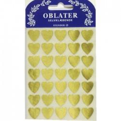 Guld Hjerter Stickers 10 stk.