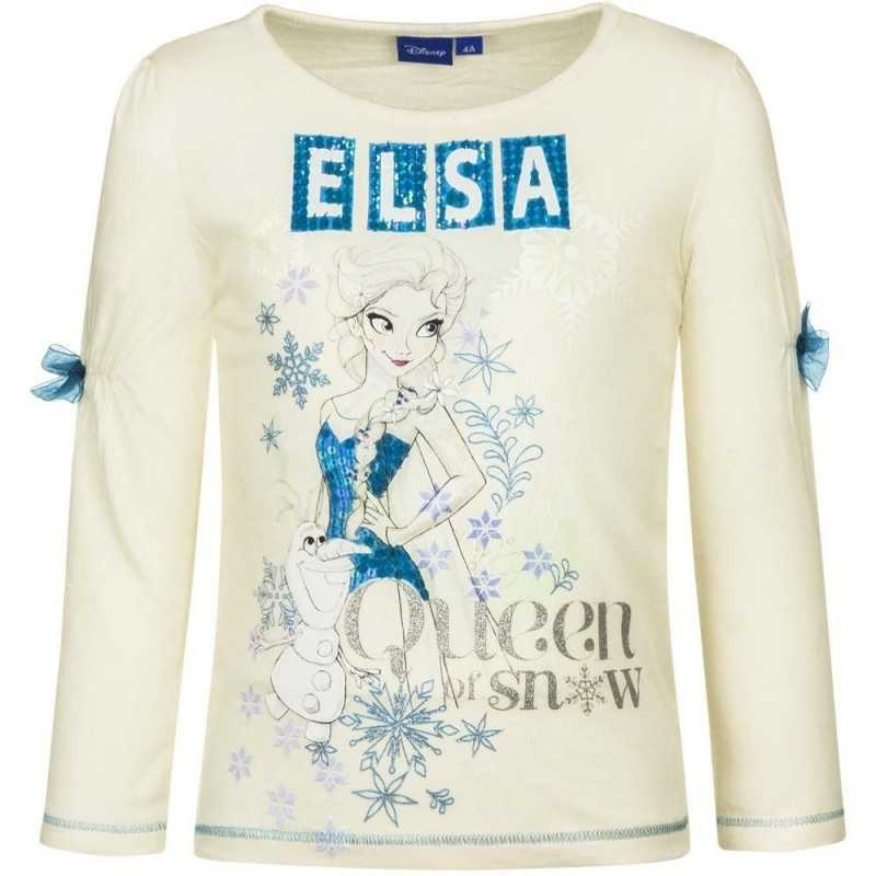 8 år / 128 cm - Hvid Frost Langærmet T-shirt Med Palietter Til Piger