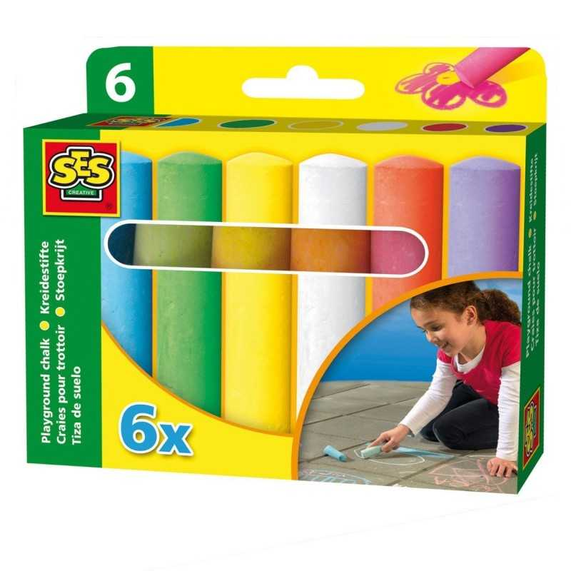 6 Stk. Kalk Kridt I Forskellige Farver