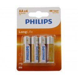 4 stk. AA PHILIPS Longlife Batterier Også Kaldet R6