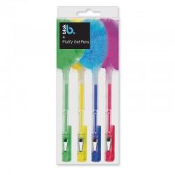 4 Stk. Gel Pen Med Fluffy Puff 18 cm