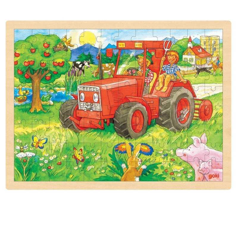 Træ Puslespil Med Traktor 96 Brikker