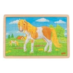Træ Puslespil Med Mark og Hest 24 Brikker