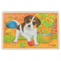 Træ Puslespil Med Hund 24 Brikker
