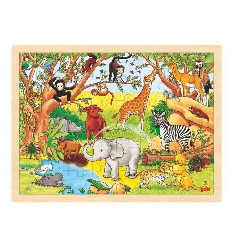 Træ Puslespil Med Afrikas Dyr 48 Brikker