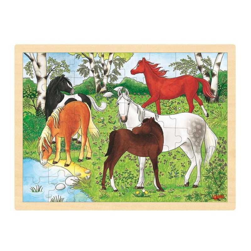 Træ Puslespil Med Heste Farm 48 Brikker