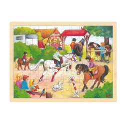 Træ Puslespil Med Heste Konkurrence 96 Brikker