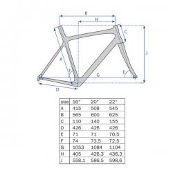 """26"""" MTB Ramme UD Carbon Klar Lakeret : Stel Størrelse - 22"""" (56 cm)"""