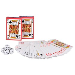 2 Sæt Spillekort Samt Sæt Med 5 Stk. Terninger Lux