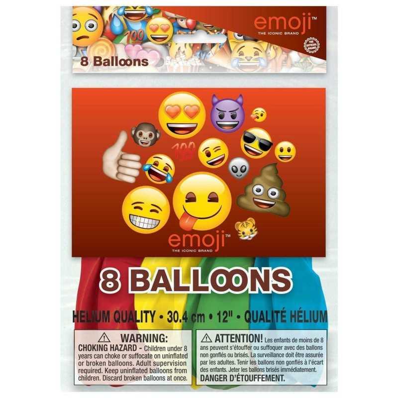 8 Stk. Store Emoji Balloner Ø 30 cm