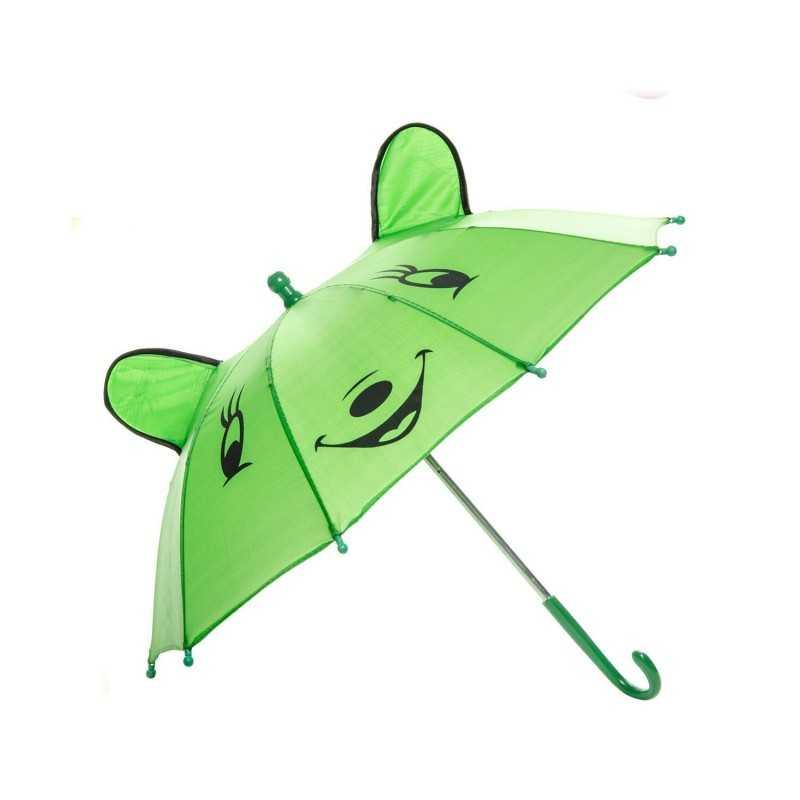Paraply Med Glad Ansigt Til Børn Ø 50 cm Grøn