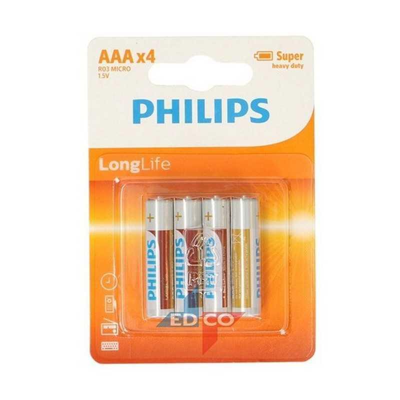 4 stk. AAA PHILIPS Longlife Batterier Også Kaldet R3