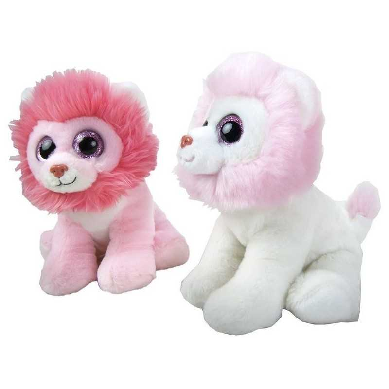 2 Stk. Søde Løve Bamser Med Glimmer Øjne 21 cm