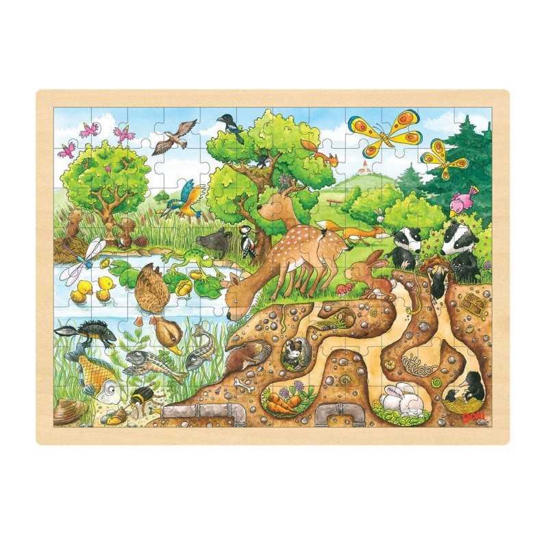 Træ Puslespil Med Natur 96 Brikker